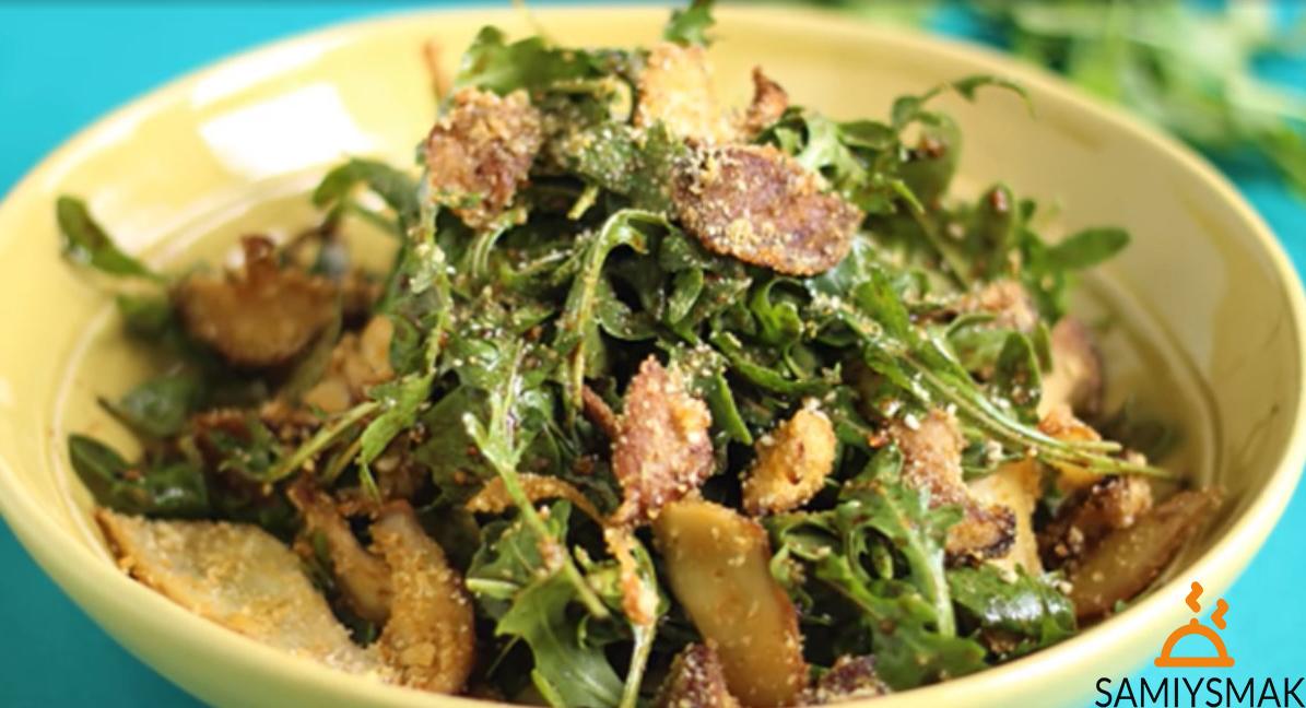 Салат с запеченными грибами и кешью