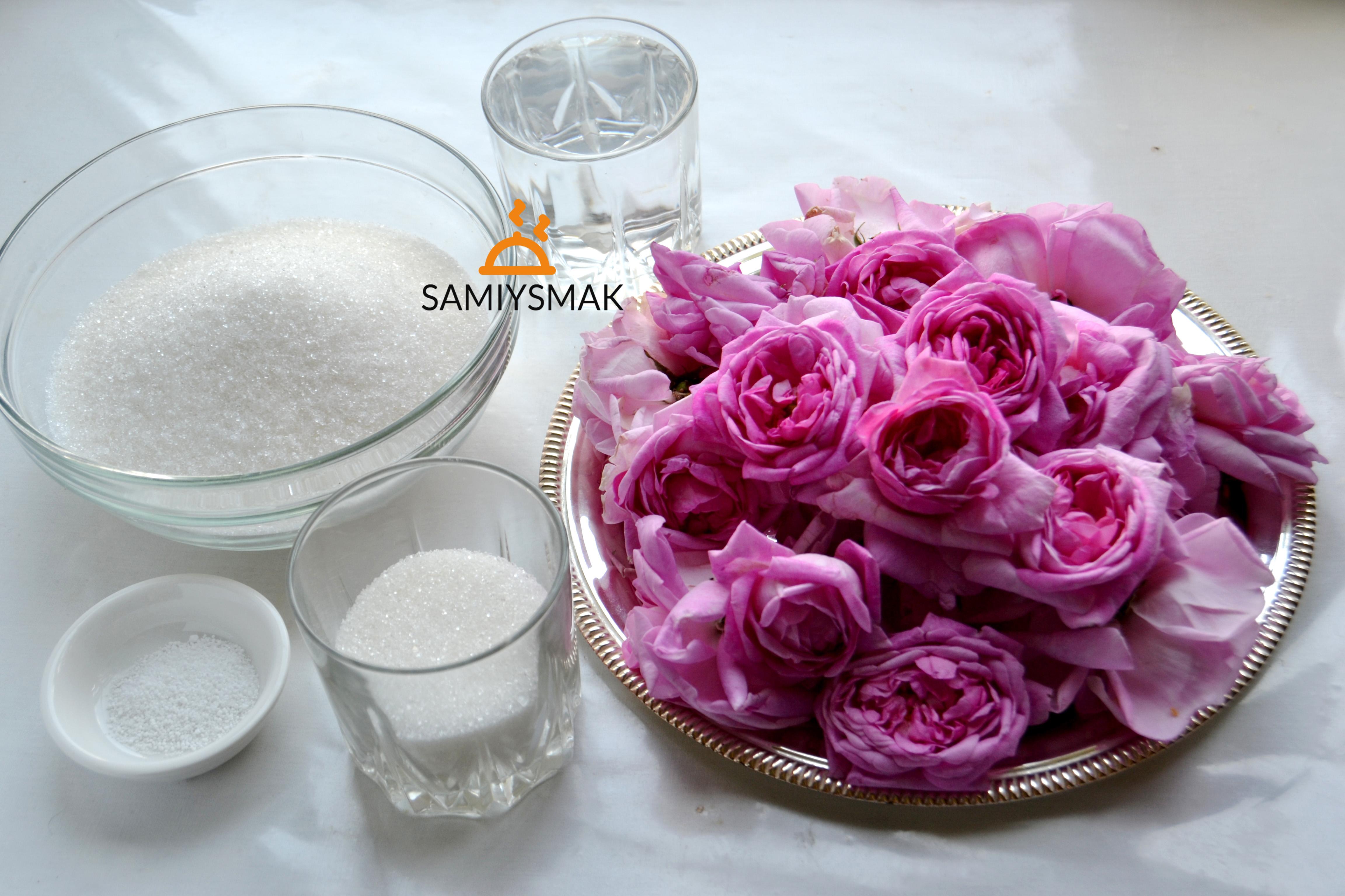 Ингредиенты варенья из роз