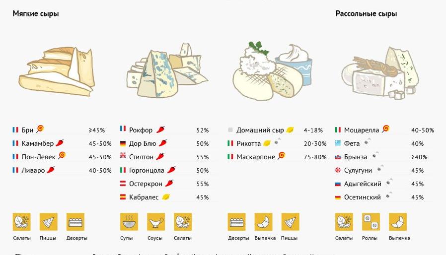 Виды сыра и их использование