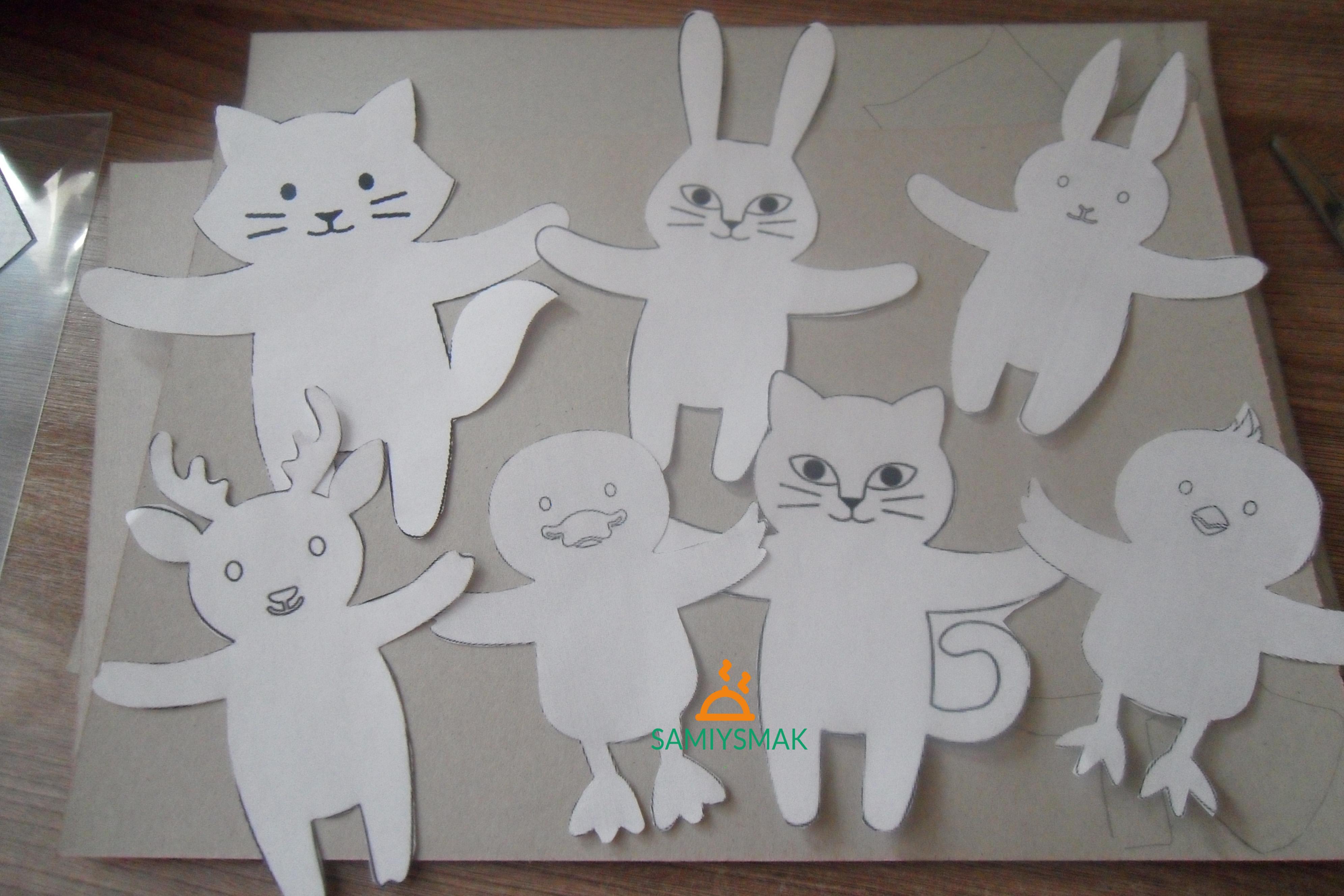 Шаблоны для зверюшек на бумаге