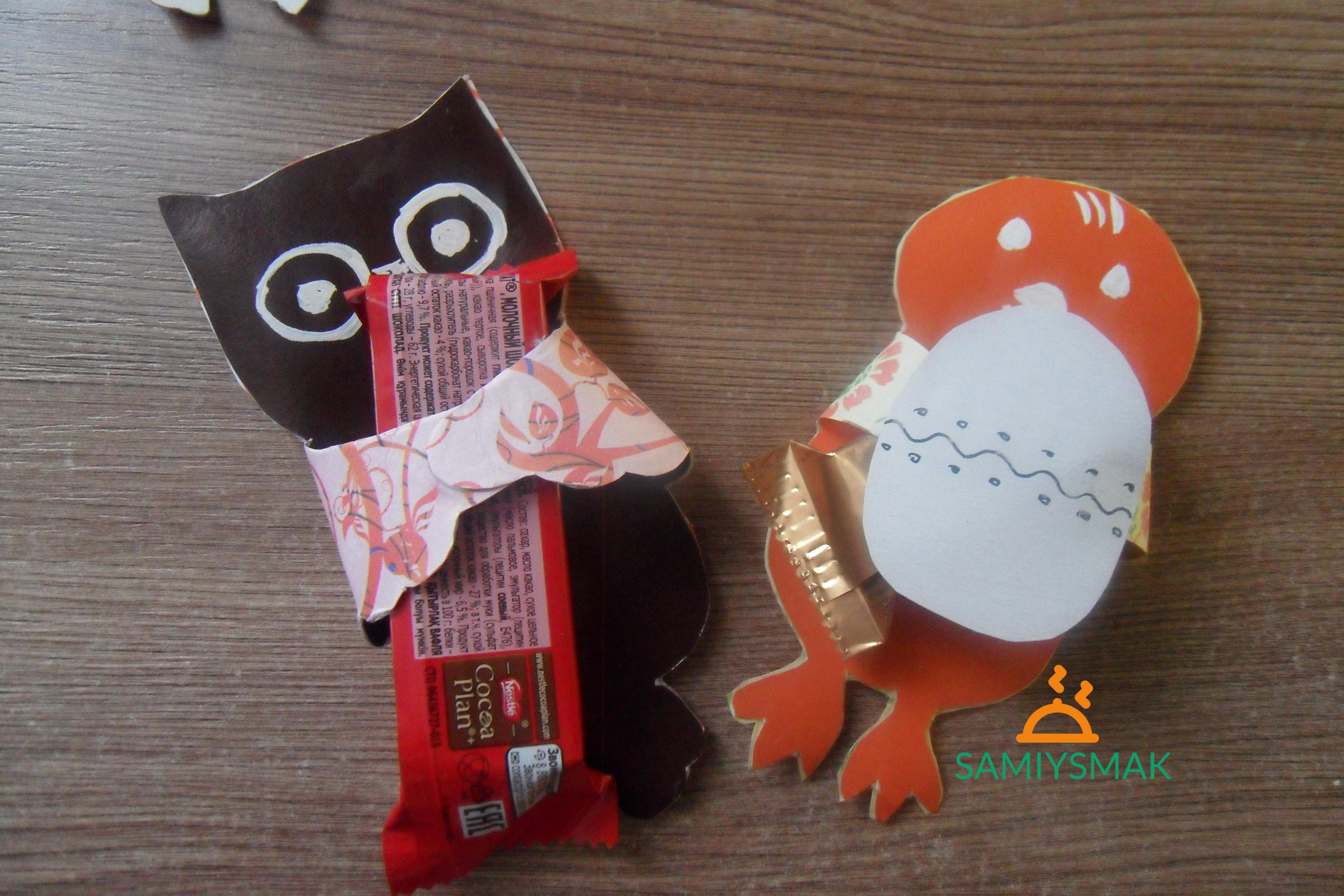 Цыпленок и сова с конфетами