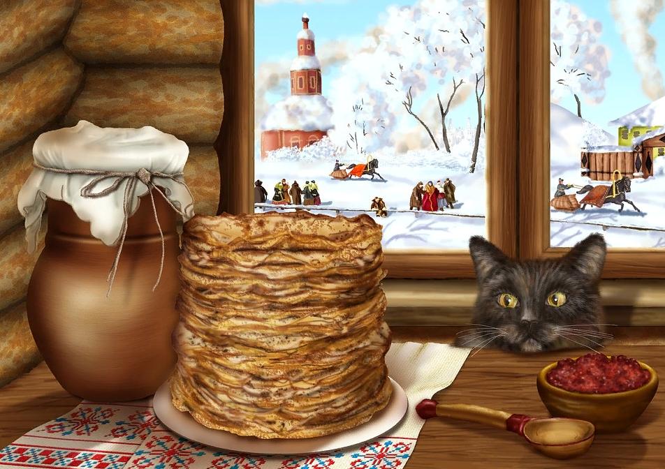 Кот и блины со сметаной