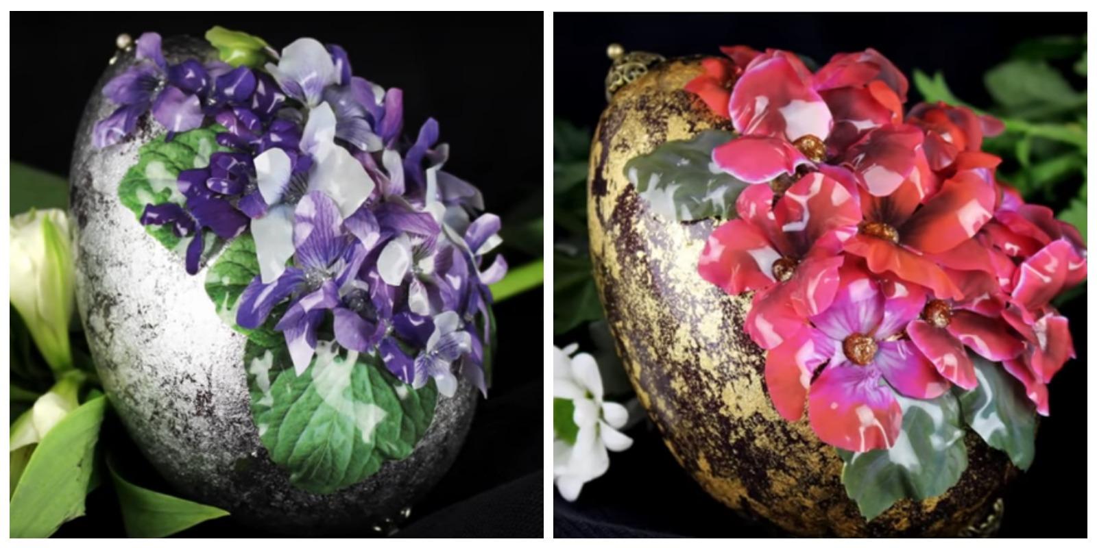 Объемные яйца с цветами