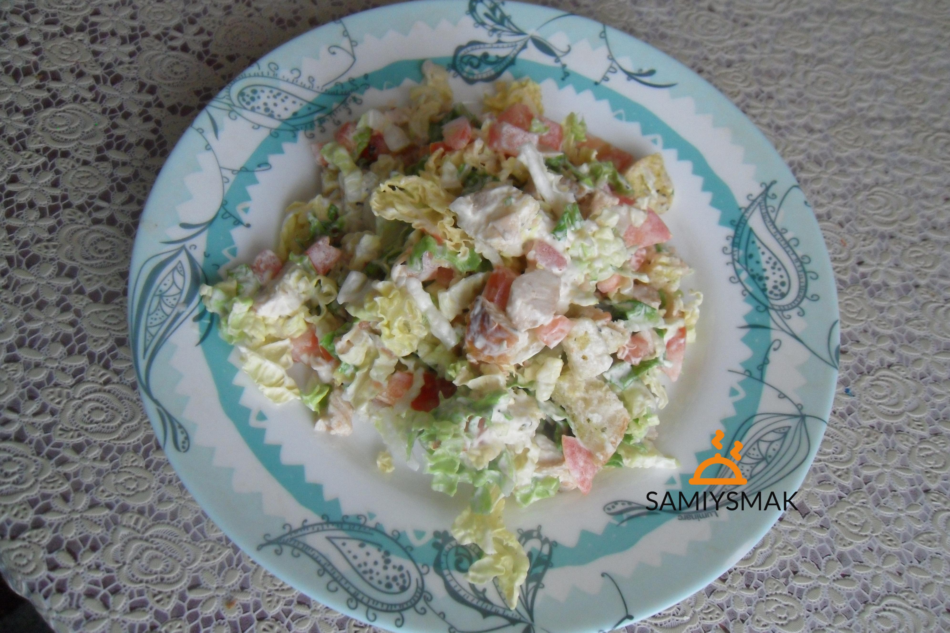 Салат капустный с сыром и курицей