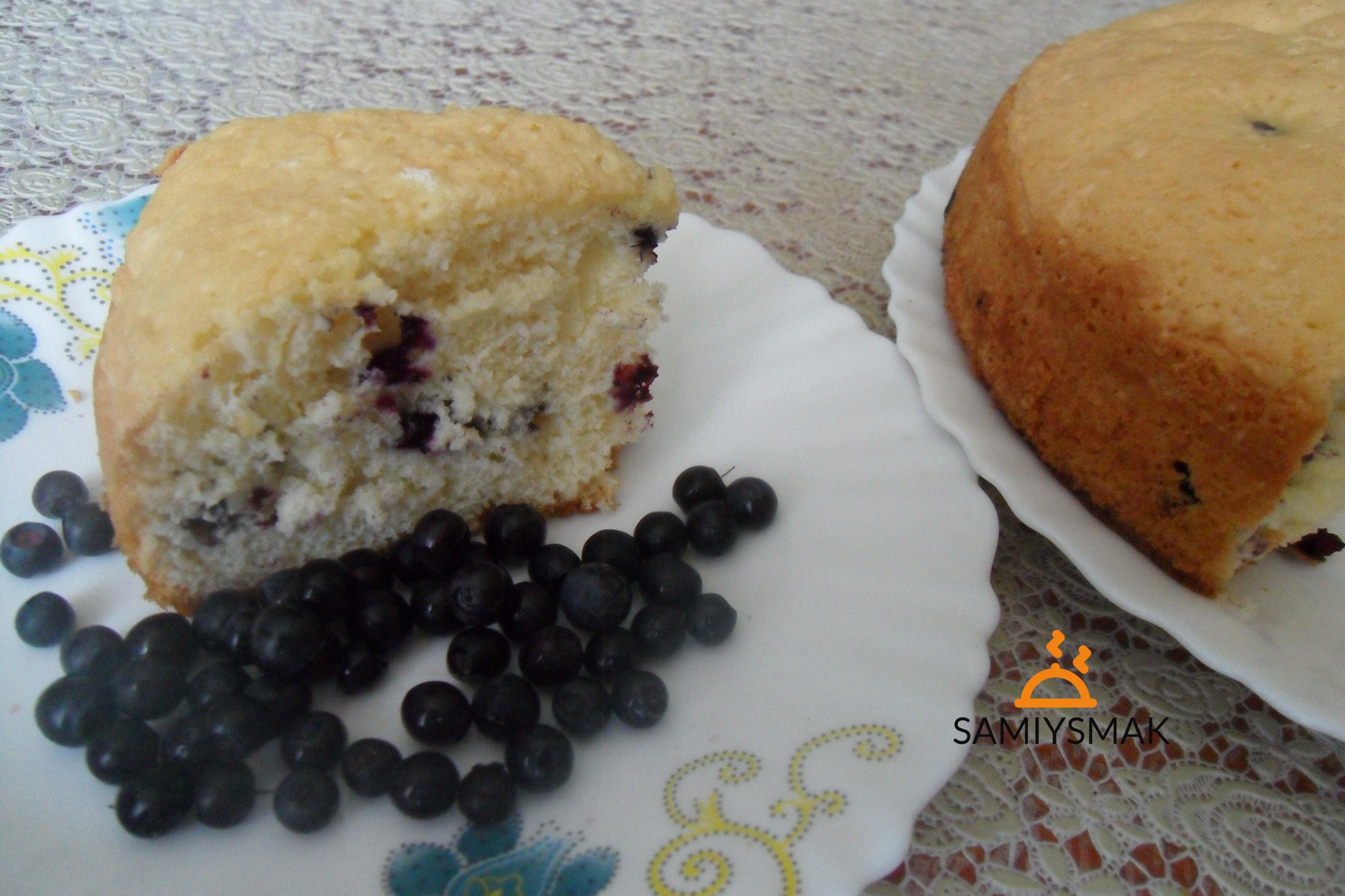 Кусок бисквитного пирога с черникой