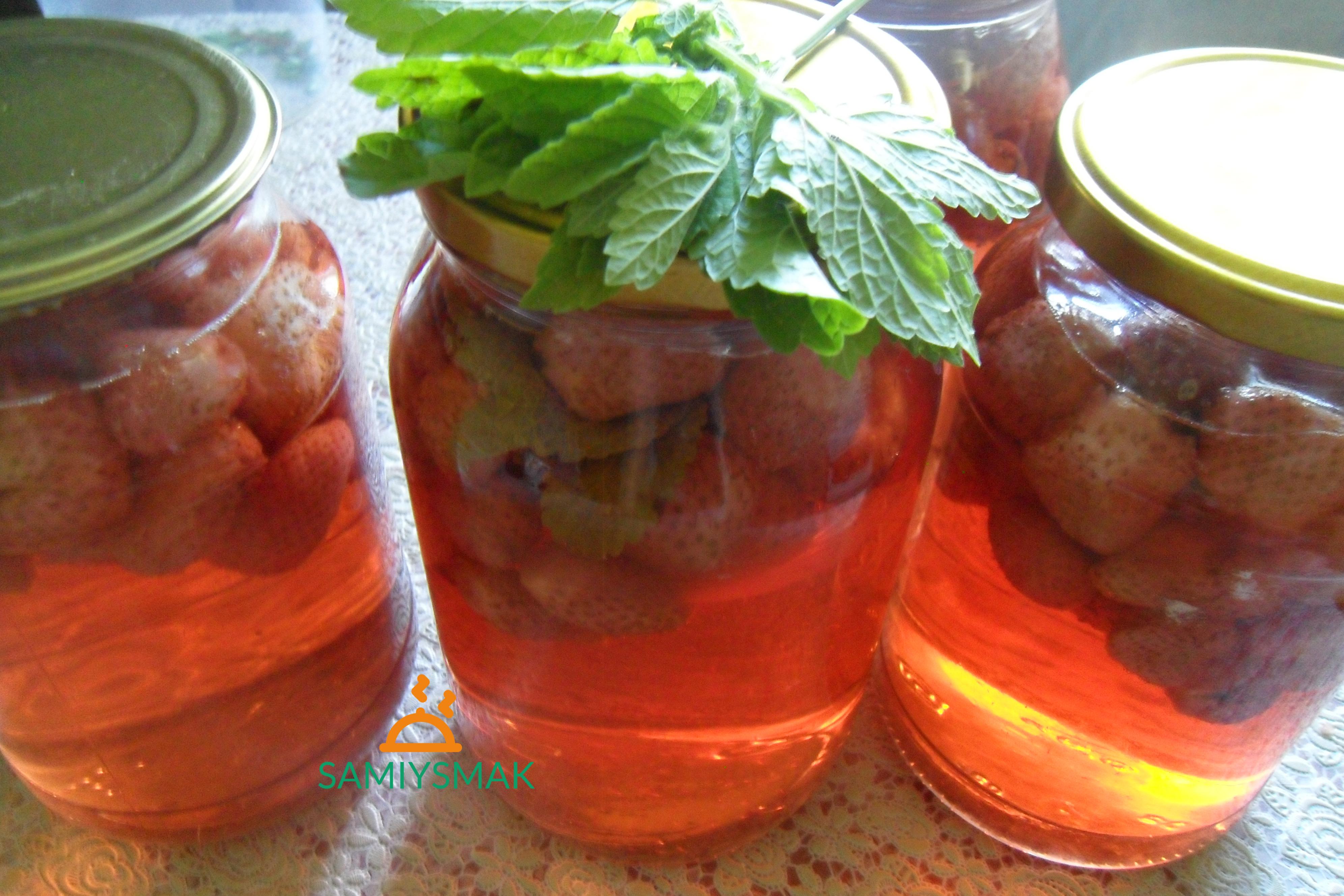 Клубничный компот вкусный с мятой