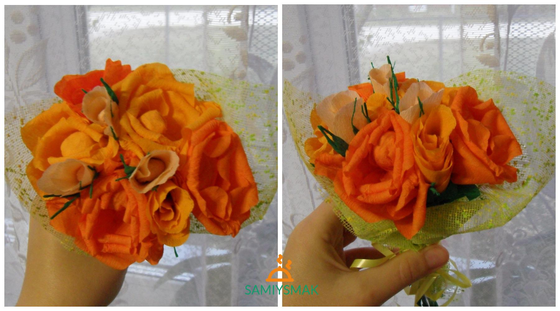 Осенние розы из крепированной бумаги