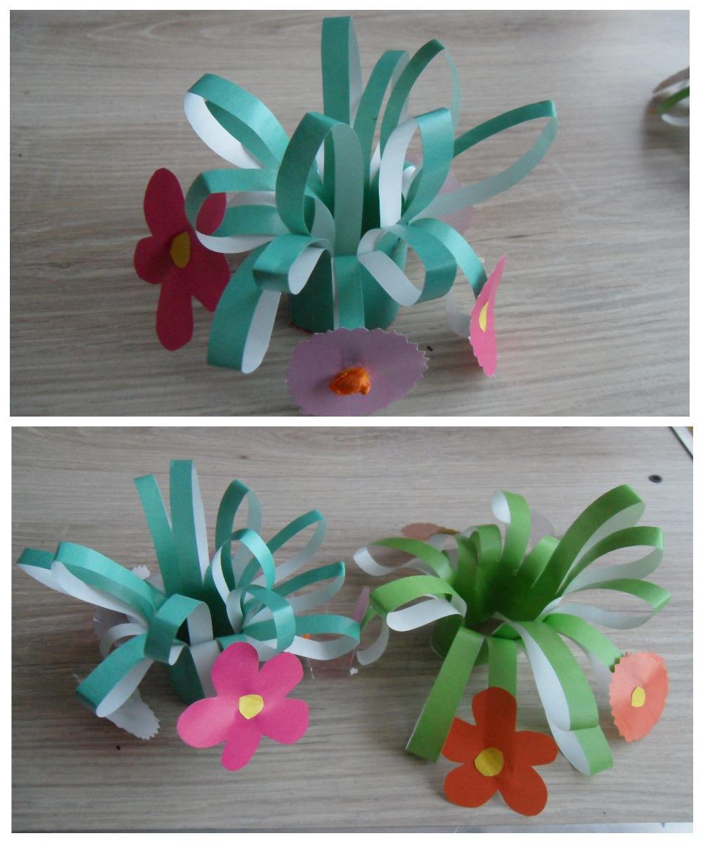 Цветы из зеленой бумаги
